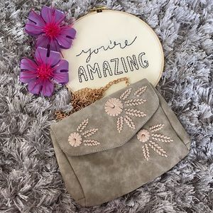 Boutique Taupe & Chain Crossbody